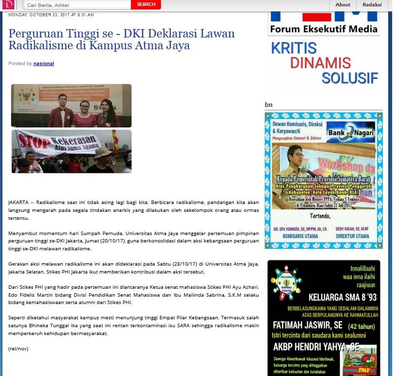Perguruan Tinggi se - DKI Deklarasi Lawan Radikalisme di Kampus Atma Jaya